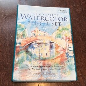 Watercolor pencil set and  2 books